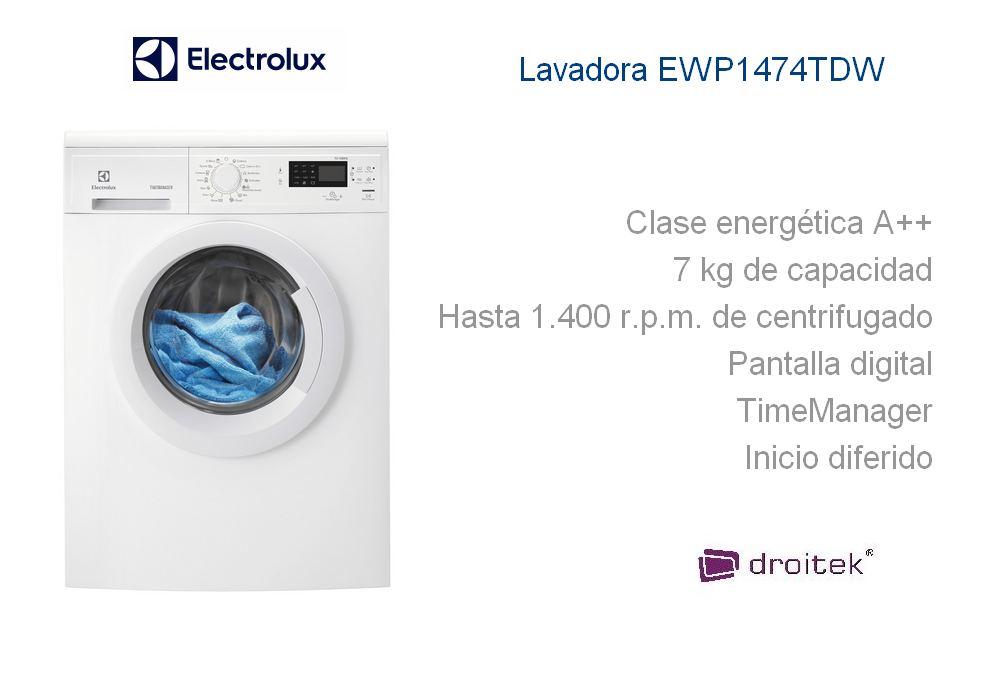 Lavadora electrolux ewp1474tdw de 7kg con timemanager for Cuanto pesa lavadora