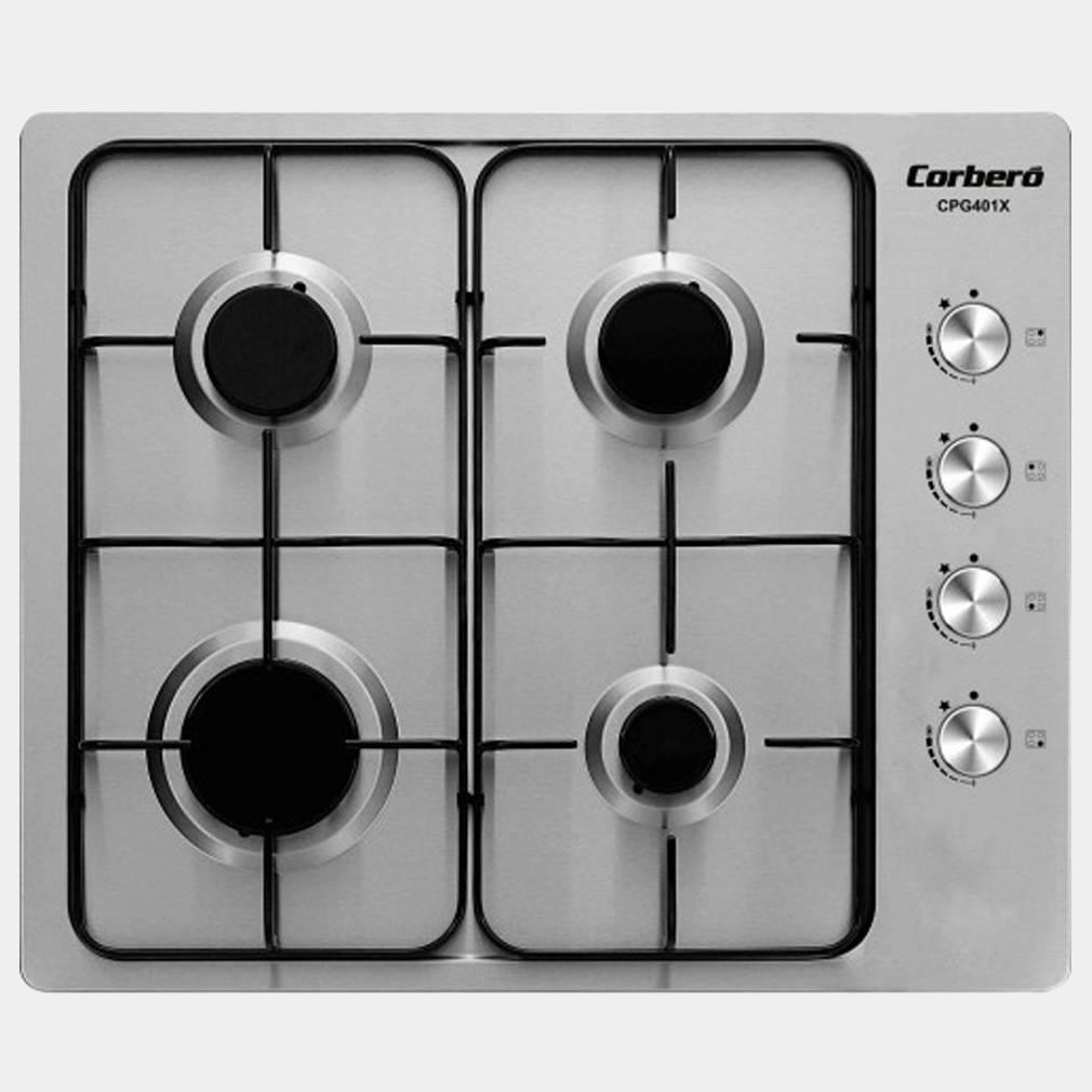 Corbero cpg401x placa de gas inox de 4 fuegos - Placas de cocina a gas ...
