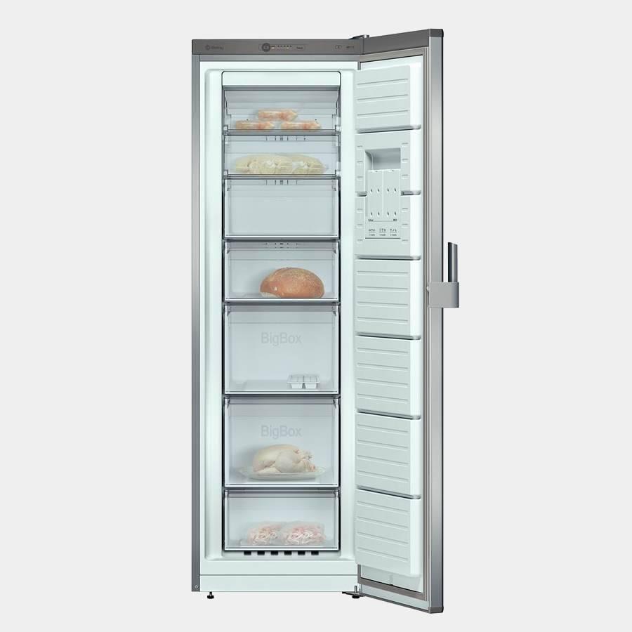 Congelador vertical balay 3gf8661p 186x60 inox a 1 puerta for Congelador vertical pequeno