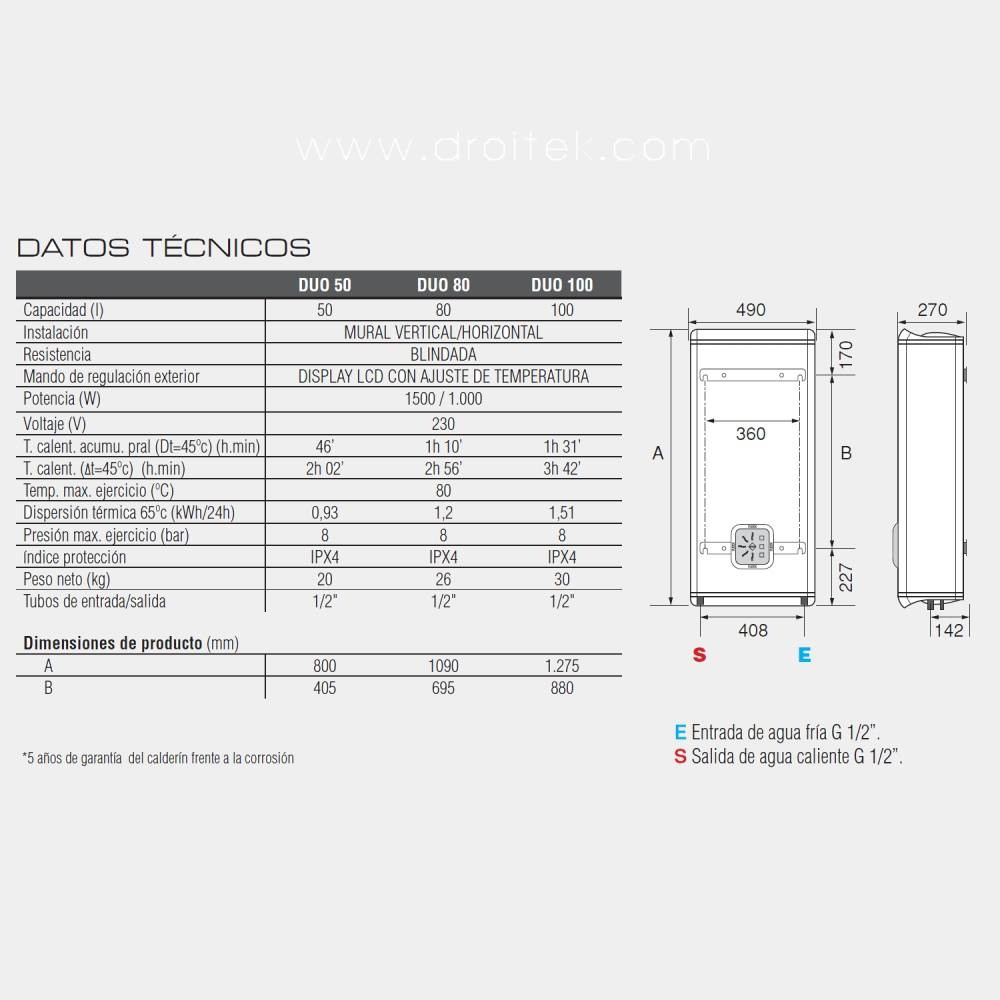 Fleck duo 50 ultra compacto termo electrico for Termo fleck duo 50