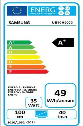 Eficiencia energetica Samsung UE40h5003