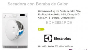 Secadora con bomba de calor Electrolux EDH3684PDE