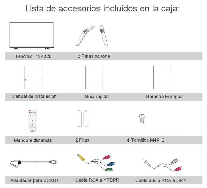 Accesorios incluidos Hisense 42k320