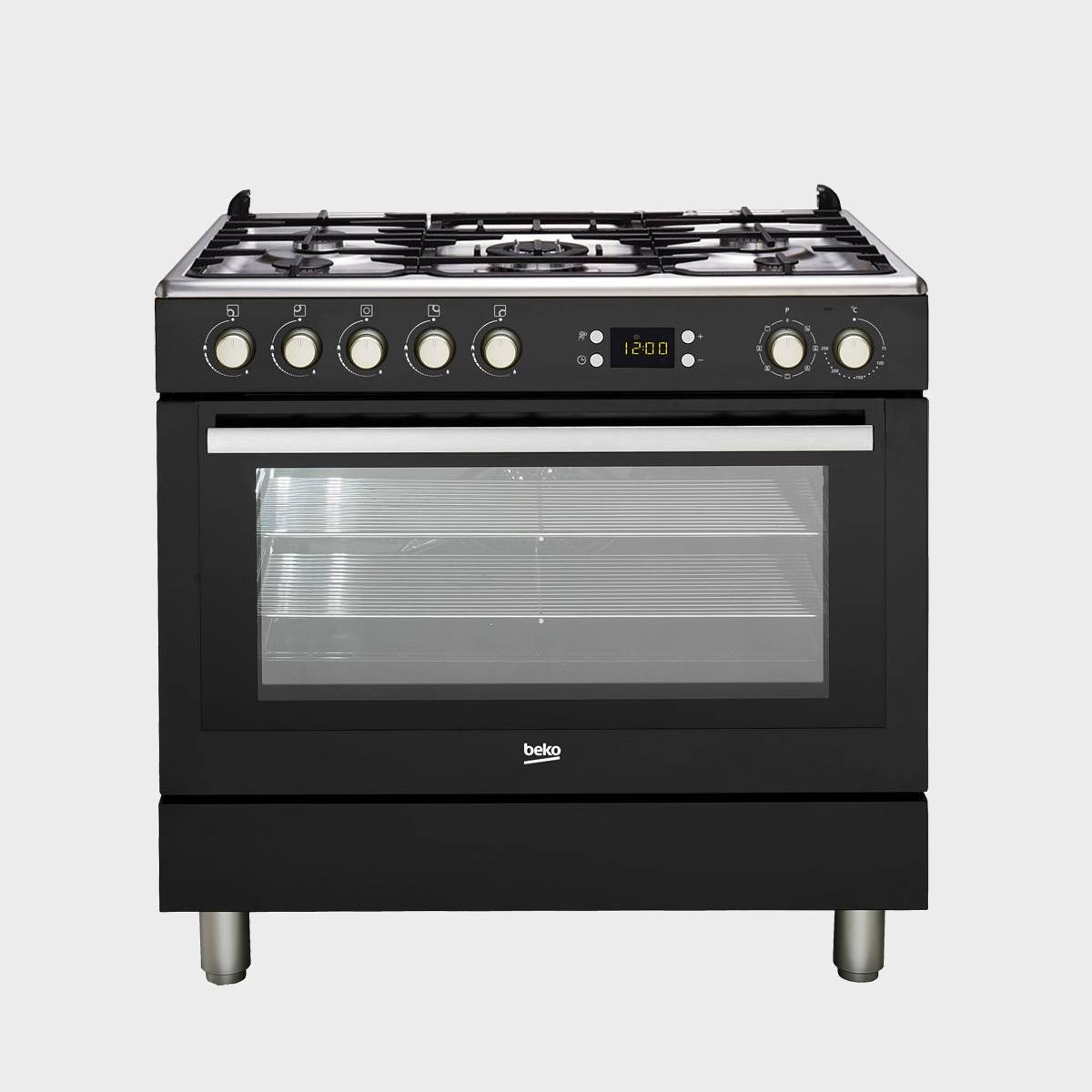 Beko gm15310db cocina de gas inox negro de 5 fuegos for Cocinas industriales de gas