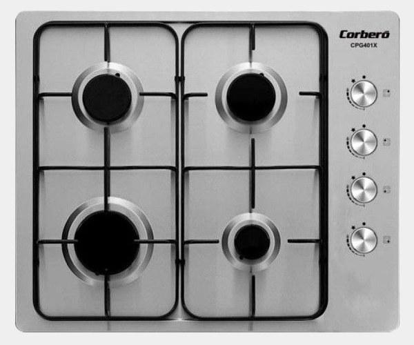 Corbero cpg410x placa inox de gas butano de 4 fuegos - Placas de gas butano ...