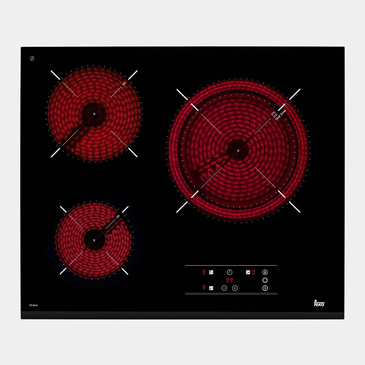 Teka tz6315 placa vitroceramica de 3 fuegos for Placas de vitroceramica